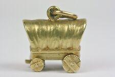 Rare Victorian 1900 14K Gold American Centennial Pioneer Wagon Pendant Charm !