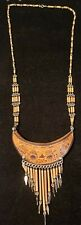Beautiful Hand Made Hand Etched Wood & Porcupine Quill Tribal Necklace