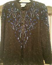Ap Ltd Womens Black Fancy Evening Party Beaded Sequin Silk Jacket Top Hook Eye M