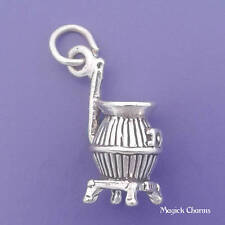.925 Sterling Silver 3D POT BELLY Wood Burning STOVE Charm Pendant - sc077