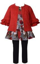 Bonnie Jean 3 Pc Floral Printed Dress w Red Ruffled Sweater and Black Pants Set