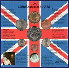 More details for united kingdom 1992 ecu set, 7x coins, 1/10 ecu to 10 ecu (ref. t4053)