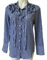 Banana Republic Women's XS Blouse Top Elsie Ruffle Stripped Blue White Buttons