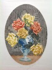 École Française début XXe Bouquet roses Litho couleur Datée 1922 Fauvisme