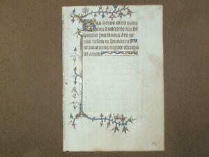 RARE Illuminated Medieval Manuscript Vellum BOH Leaf w/ Gold & Miniatures