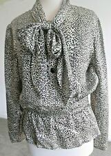 VINTAGE VALENTINO WOMENS 14 MADE IN ITALY SILK ANIMAL PRINT BLOUSE V NECK