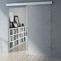 Modern Clear Glass Tempered Glass Sliding Door With Bar Handle