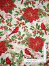 Holiday Poinsettia Birds Cotton Fabric Fabriquilt Inc A Happy Christmas - Yard