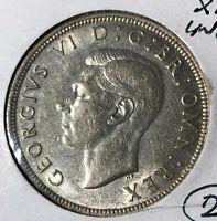 1943 Great Britain Half 1/2 Crown Silver Coin