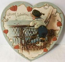 Vtg Antique Embossed Ernest Nister Valentines Day Card Sailor Boy on Ship #7032