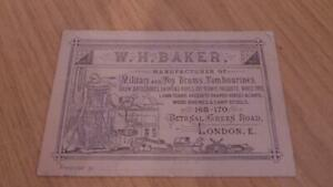 AQ650: W.H.Baker Business card - Military & Toy Drums & Tambourines - Bethnal Gr