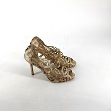 Enzo Angiolini Gold Glitter Caged Heels Sz 6.5M