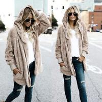 De Moda para Dama Cálido Invierno Largo Encapuchado Abrigo Cárdigan Sudaderas