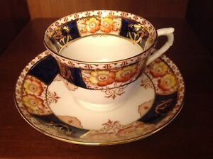 Colclough Orange & yellow flowers navy brown gold bone china Cup & Saucer AS IS