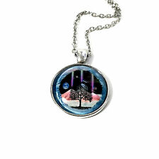 Fashion Women Vintage Cabochon Glass Moon Tree Chain Pendant Necklace