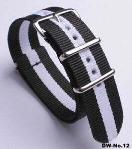 Durable Military Nylon Wrist Watch Band Men's and Women's Watches Strap 18-24 MM