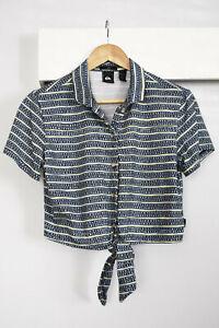 QUIKSILVER Crop Tie Waist Camp Shirt Size M