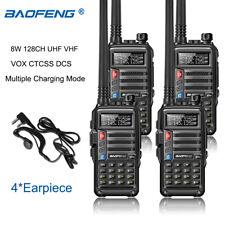 4x BaoFeng 8W Dual Band Walkie Talkie 128Ch Vox Ctcss Dcs Two Way Radio Vhf Uhf