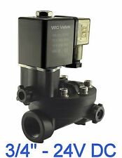 """3/4"""" Inch PA66 Plastic Electric Air Water Solenoid Valve Manual Override 24V DC"""