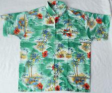 Vtg Tiki Green Short Sleeve Aloha Shirt - Large Mens Beach Hawaiian Polyester