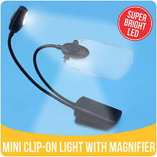 SUPER BRIGHT LED Mini Clip-on Reading Travel Light Lamp with LED Magnifier