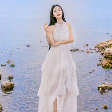 Womens Sleeveless Ruffled Layered Long Dress Beach Fairy Boho Tunic Vintage