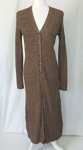 Anthropologie Brown Heathered Button Down Maxi Sweater Dress Small Silk Blend