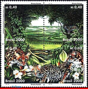 2752 BRAZIL 2000 ENVIRONMENTAL PROTECTION, TREES CATS OZ, MI# 3041-44 C-2285 MNH