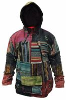 Mens Patchwork Fleece Lined Winter Jacket Boho Hippy Cross Zipped Tops Hoodie