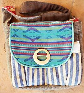 Sage & Harper Shoulder Bag Tote Woven Gray Southwest Diaper Bag Elephant Liner