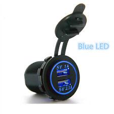 Blue LED Angel Eye Ring Car Charging Dual USB Socket Power Adapter Outlet12V-24V