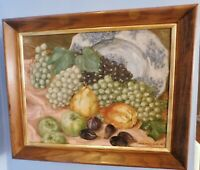 1950'S OLD STILL LIFE IMPRESSIONIST OIL PAINTING - SIGNED DATED 16 X 20 FRAMED