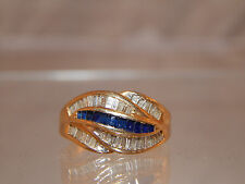1.0 tcw Designer Sapphire .25 tcw & Diamond .75 tcw Baguette Ring 14k YG  VS/G