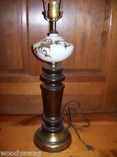 Cottage Victorian Deco Milk Glass table Lamp Wood Shabby Living Room Whites