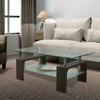 Coffee Walnut Rectangular Glass Coffee Table Shelf Living Room Furniture Table