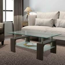 Coffee Walnut Rectangular Glass Coffee Table Shelf Living Room Furniture Table
