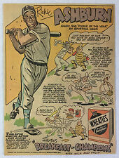 1949 Wheaties RICHIE ASHBURN cartoon ad page ~ Philadelphia Phillies baseball