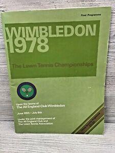 Final Program Wimbledon Lawn Tennis Championships 1978
