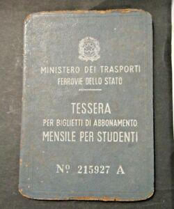 FERROVIE DELLO STATO TESSERA PER ABBONAMENTO STUDENTI - ALBENGA 1959