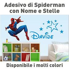 Adesivo Murale Spiderman con Nome e Stelline Wall Sticker Camera Bambino
