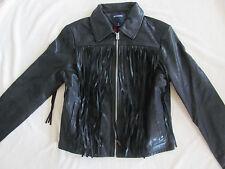 True Religion Fringe Leather Moto Jacket -Black - Size Large - NWT $599