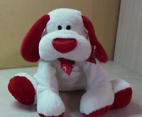 "White & Red Puppy Dog Plush 11"" stuffed toy animal boys girls"