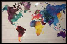 (FRAMED) WATERCOLOR WORLD MAP POSTER 96x66cm  PRINT PICTURE HOME DECOR ART