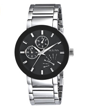 NEW Bulova Men's 96C105 Stainless Steel Day/Date Black Dial 40mm Case Watch