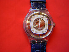 SWATCH AUTOMATIC HIDDEN VIEW - SAK117 - 1995 - NEW - leather strap - RARE
