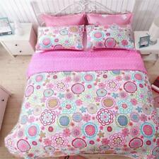 PINK BLUE FLOWERS 3pc Full / Queen QUILT SET : GIRL MOD BRIGHT FLORAL MARIAH