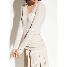 9dc3e4a39e V055 NWT VINCE 100%25 CASHMERE V NECK RIBBED WOMEN SWEATER SIZE S in C