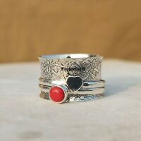 Coral Ring Solid 925 Sterling Silver Spinner Meditation Statement Jewelry - H254