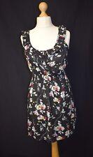 Women's Miso Size 12 Black Floral Pattern Day Tea Dress Frills Elasticated Waist