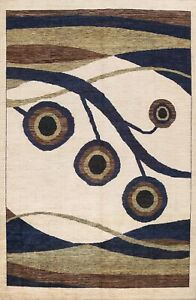 IVORY Contemporary Abstract Oriental Area Rug Hand-knotted Wool Living Room 9x12